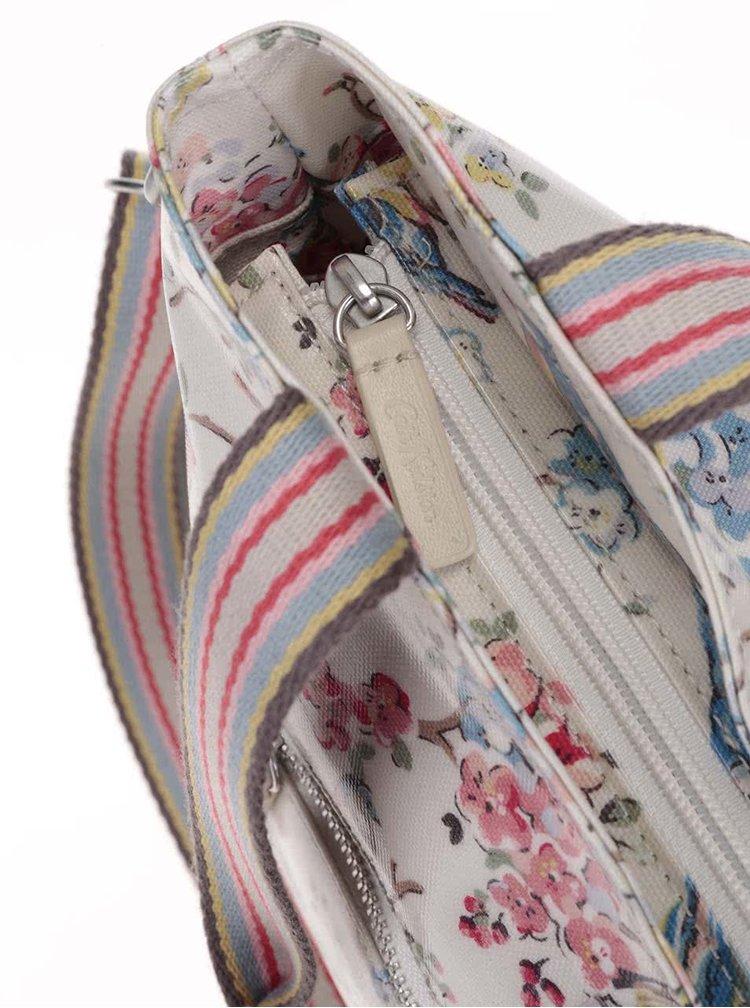Krémová velká kabelka s květy a ptáčky Cath Kidston