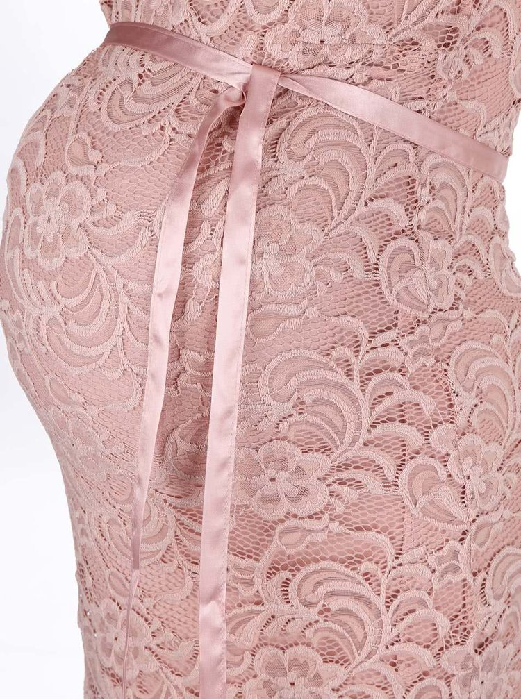 Světle růžové krajkové těhotenské šaty Mama.licious New Mivana