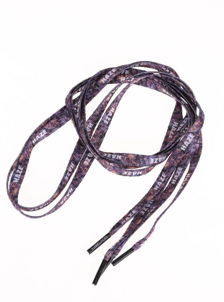 Fialové šnúrky s bielym textom Tubelaces (130 cm)