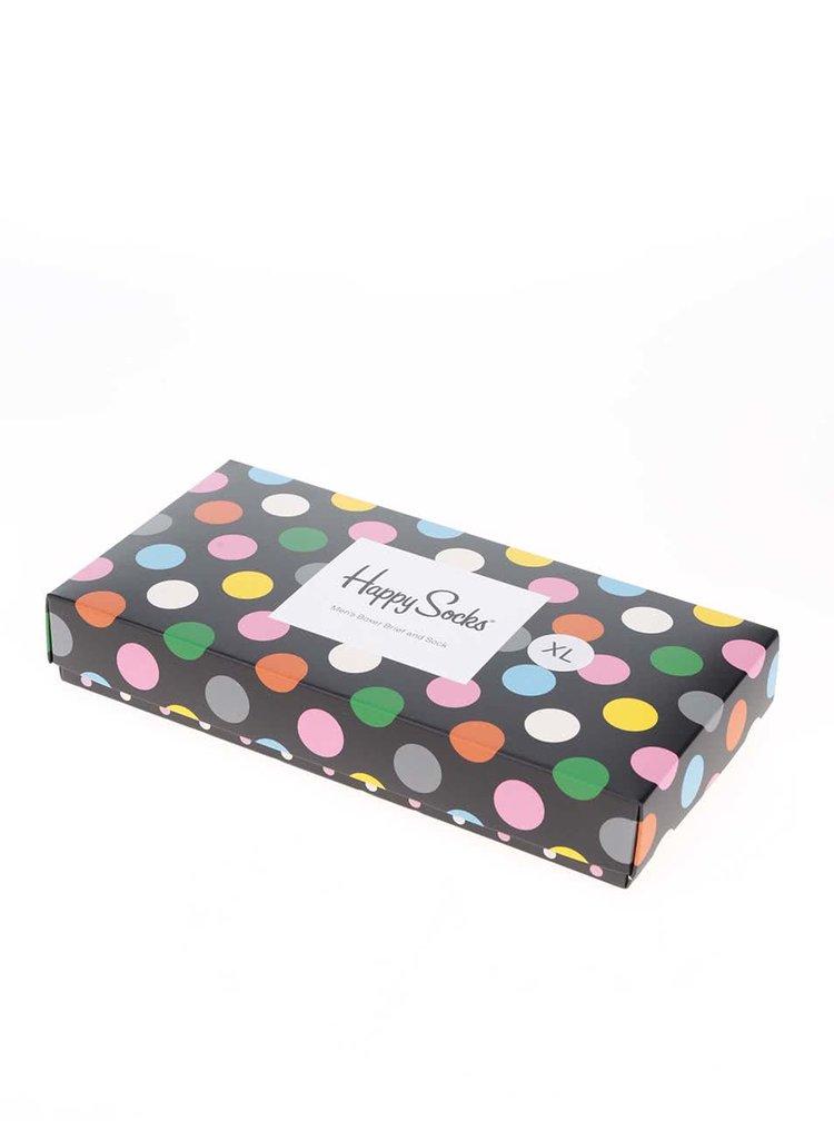 Set černých puntíkovaných pánských ponožek a boxerek Happy Socks Big Dots