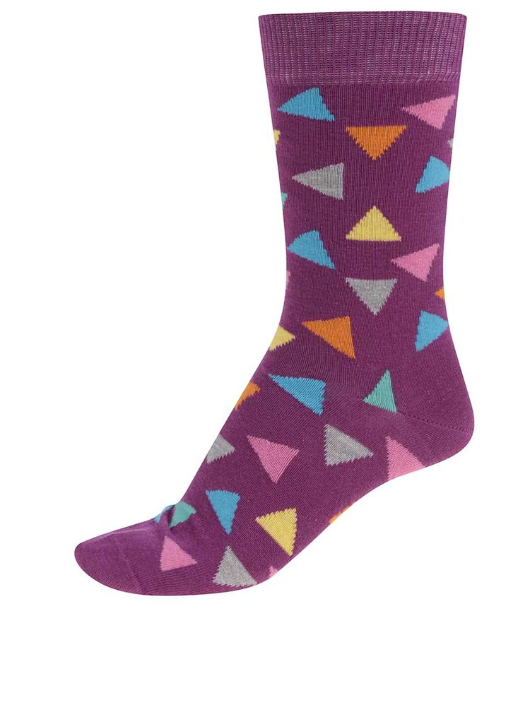 Sosete Happy Socks Triangle de dama mov cu triunghiuri