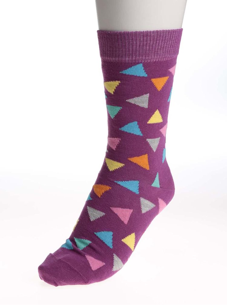 Șosete Happy Socks Triangle de damă mov cu triunghiuri