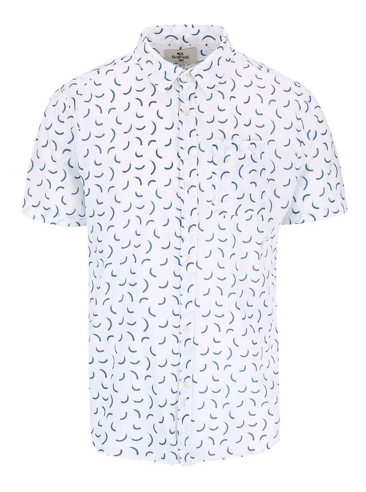 Bellfield Lacuna White Patterned Short Sleeved Shirt