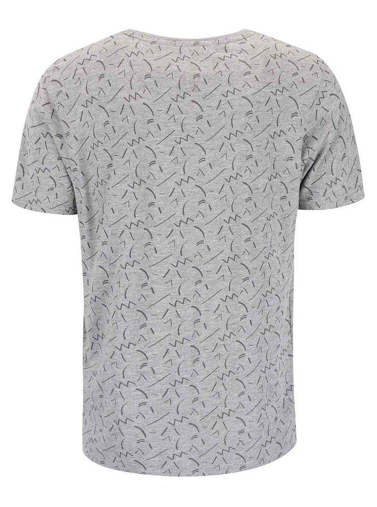 Sivé vzorované tričko Bellfield Cosmos