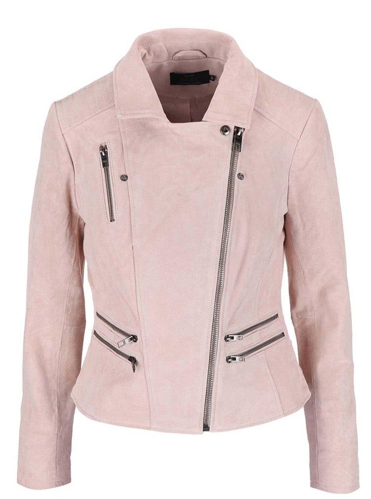Jachetă roz ONLY Justine din piele