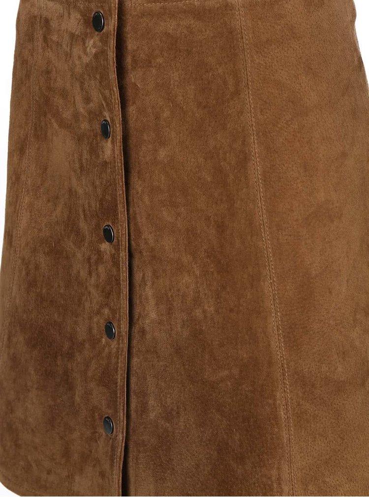 Hnedá semišová sukňa na patentky ONLY Fortune