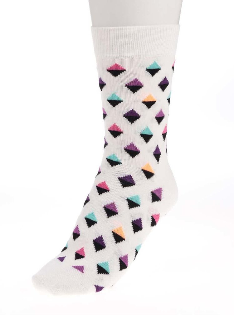 Șosete Happy Socks Mini Diamond de damă crem cu triunghiuri