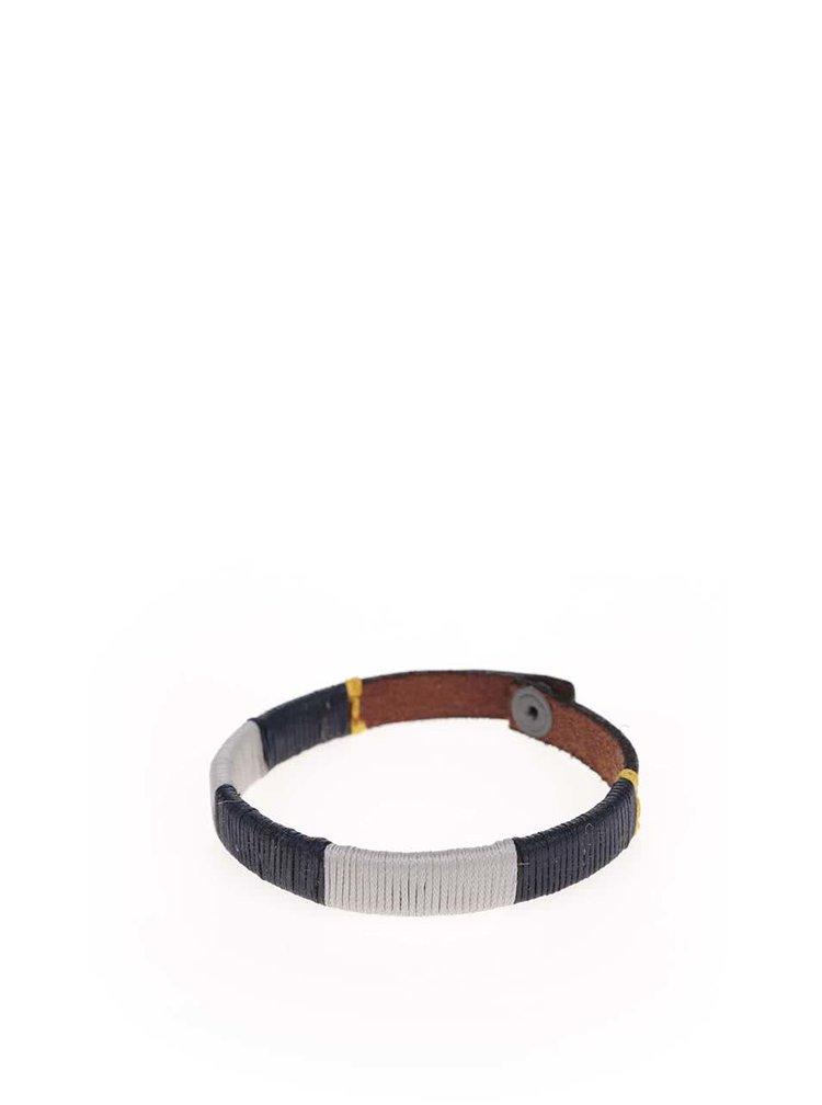 Hnedý kožený náramok s bielym a modrým detailom Jack & Jones Accolor