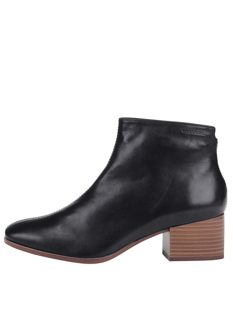 144184defc Čierne kožené členkové topánky Vagabond Daisy