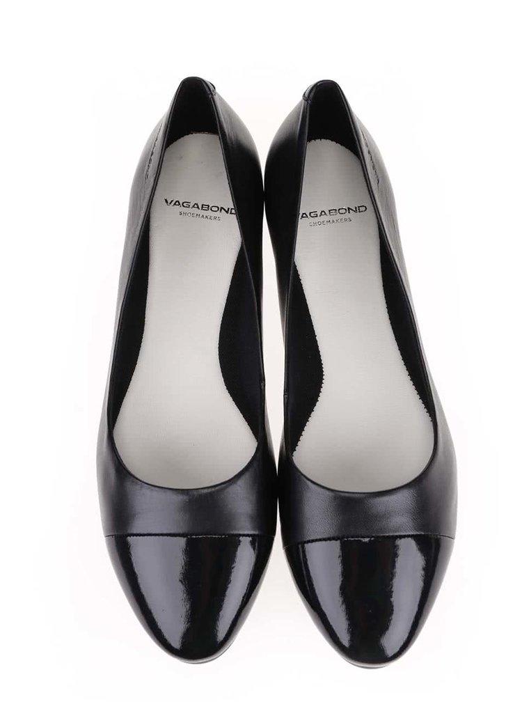 Čierne kožené hladké balerínky Vagabond Savannah