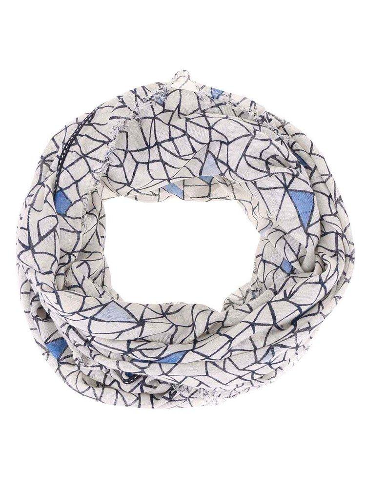 Modro-krémový vzorovaný dutý šátek Pieces Toso