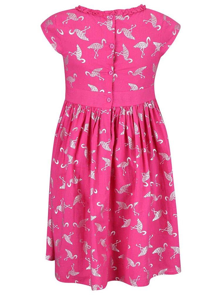 Ružové dievčenské šaty s potlačou plameniakov Blue Seven