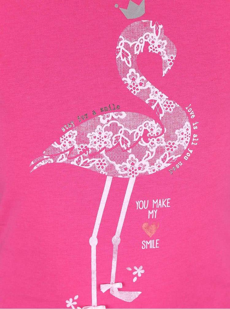 Ružové dievčenské tielko s plameniakom Blue Seven