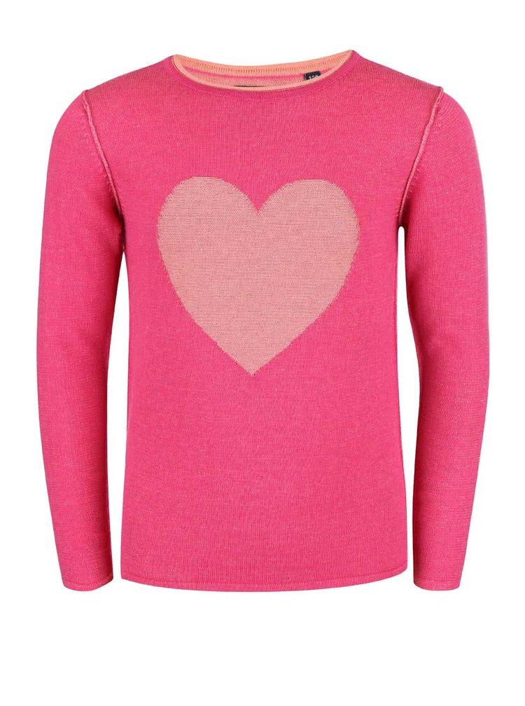 Pulover Blue Seven pentru fete roz cu inimioare