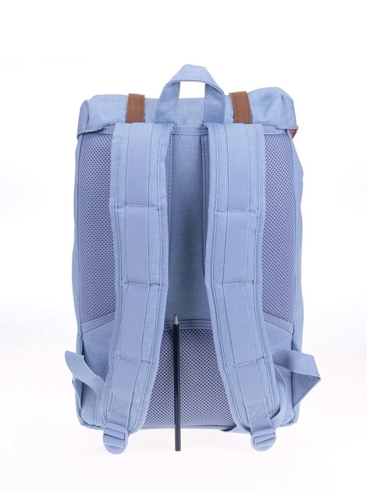 Světle modrý batoh s hnědými přezkami Herschel Little America Mid-Volume