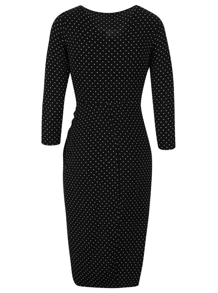 Čierne bodkované šaty s 3/4 rukávmi Dorothy Perkins