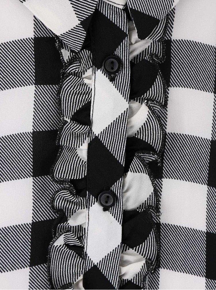 Čierna kockovaná blúzka Dorothy Perkins Petite