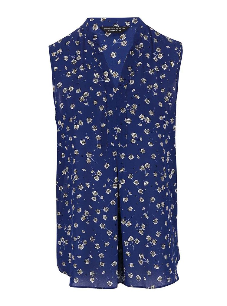 Modrá kvetovaná blúzka bez rukávov Dorothy Perkins