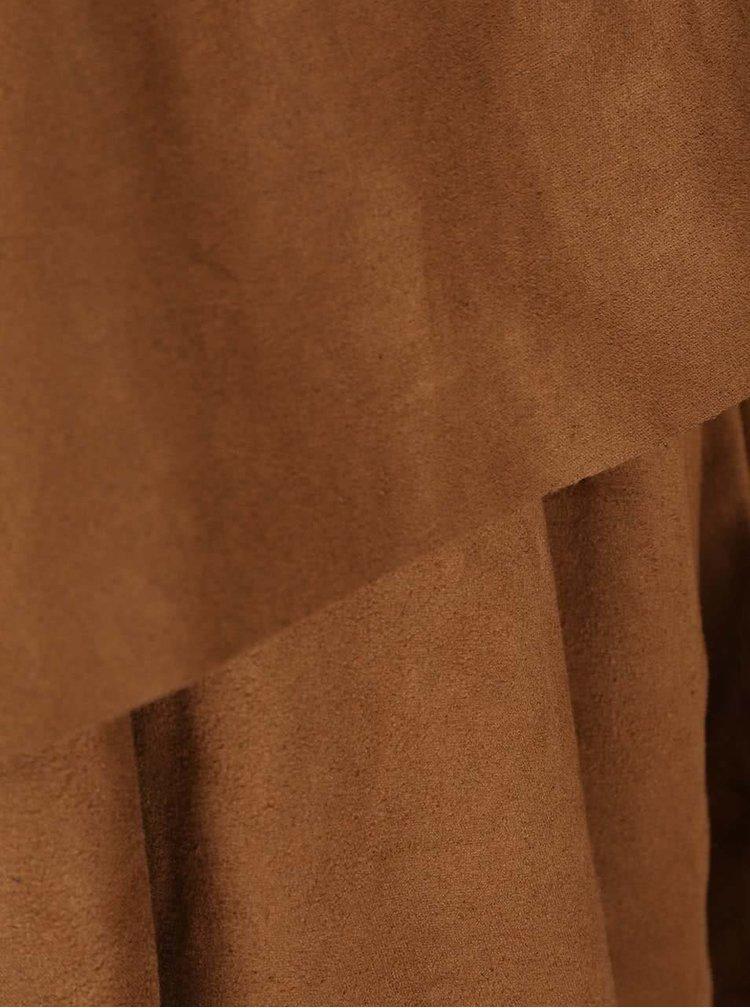 Hnědý blejzr s třásněmi v semišové úpravě ONLY Queenie