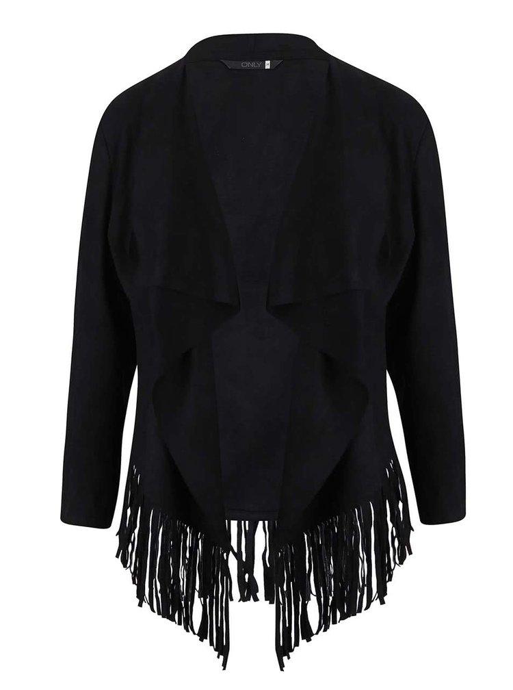 Jachetă neagra ONLY Queenie cu franjuri