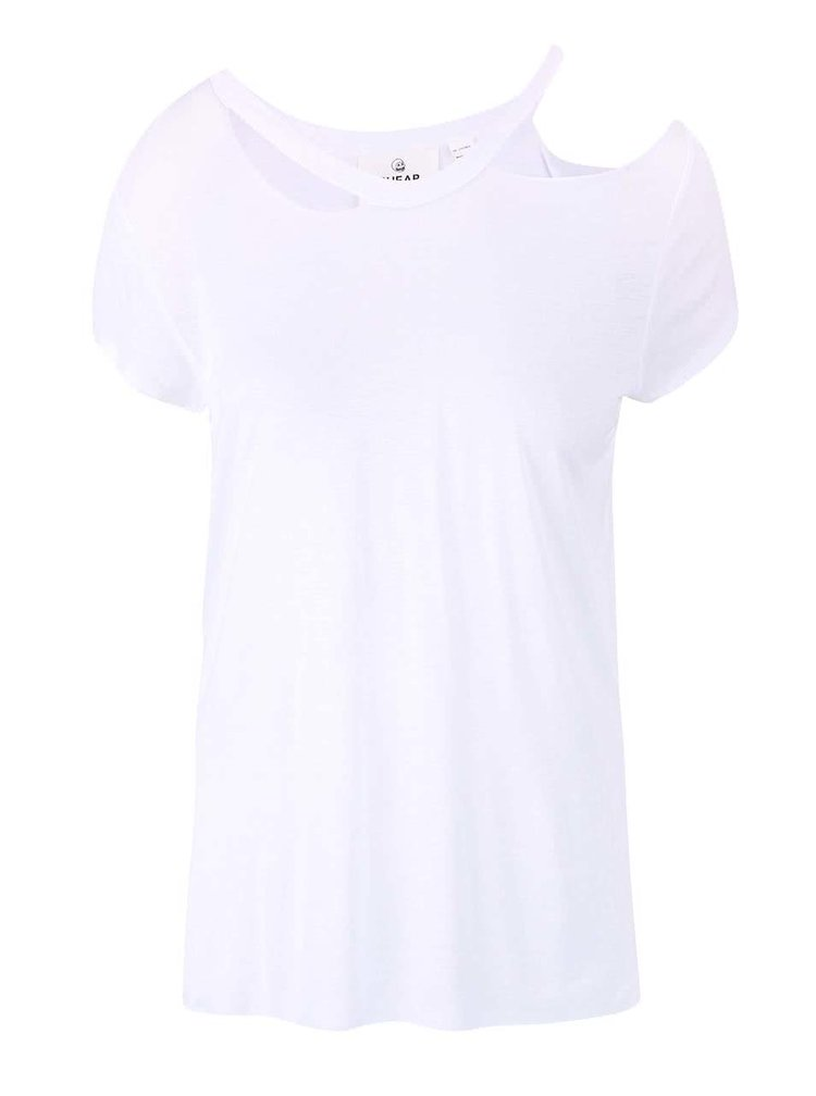 Biele dámske tričko s prestrihmi pri krku Cheap Monday