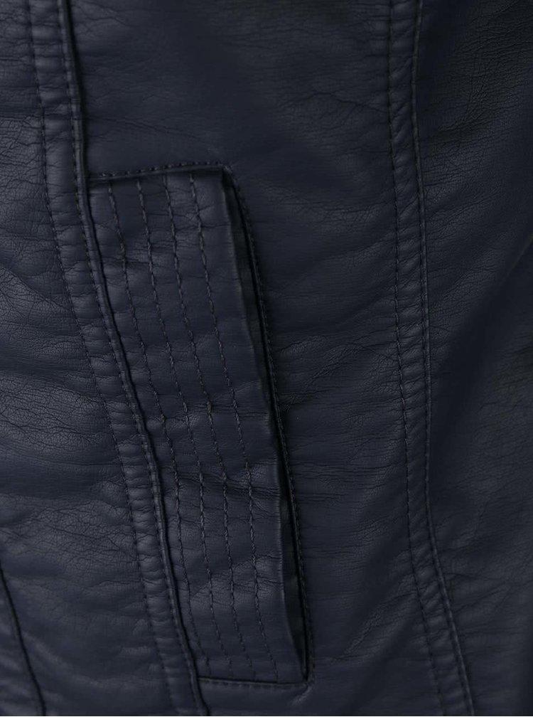 Tmavomodrá koženková bunda ONLY Bandit