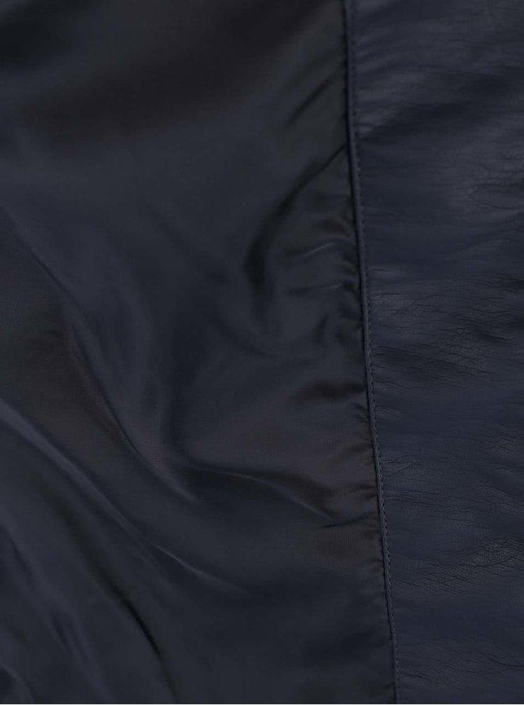 Tmavě modrá koženková bunda ONLY Bandit
