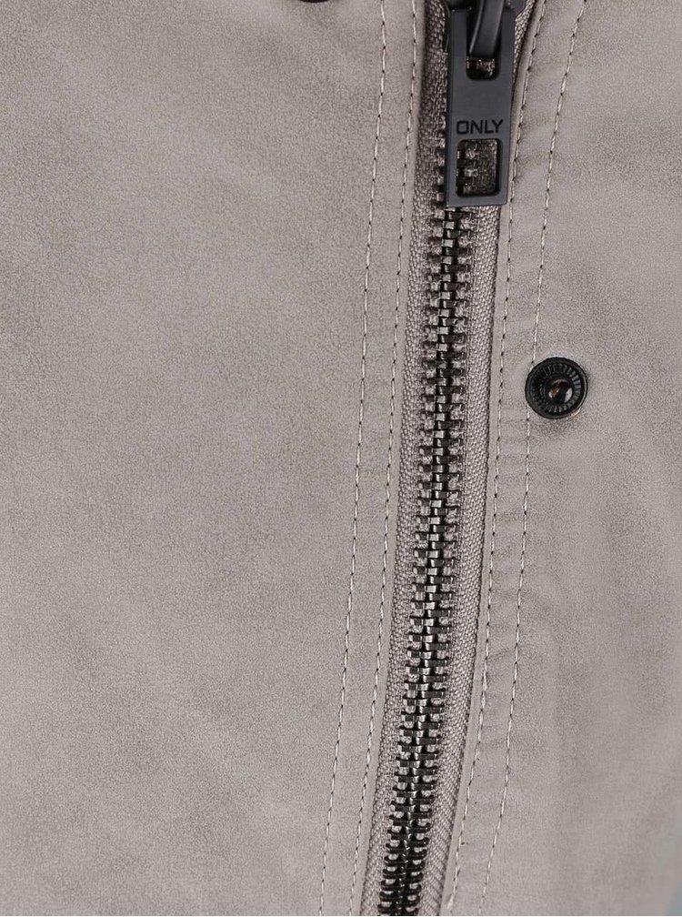Krémovosivá koženková bunda ONLY