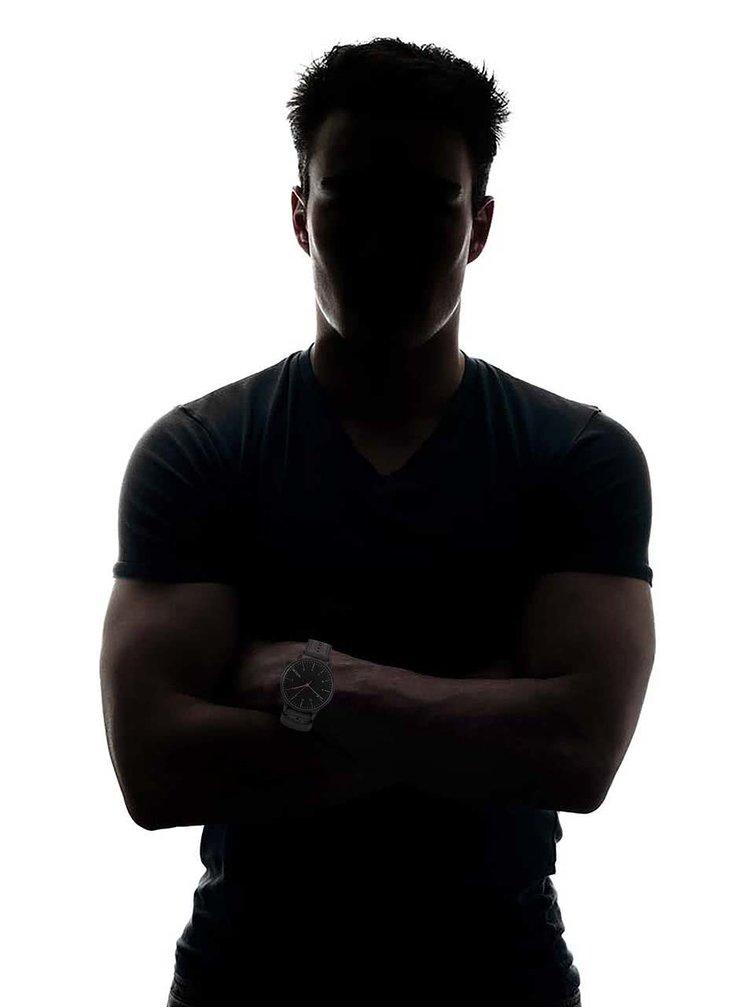 Ceas negru cu curea din piele naturala pentru barbati -  Komono Winston cu curea din piele