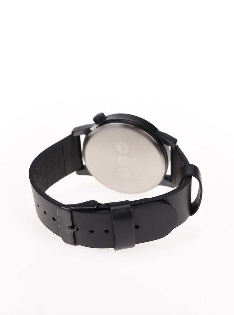Ceas negru barbatesc cu curea din piele Komono Winston Regal