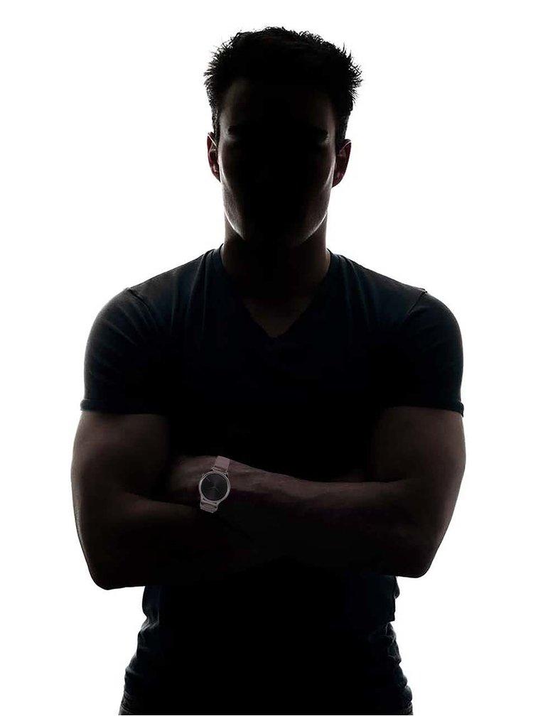 Unisex hodinky v striebornej farbe s čiernym ciferníkom Komono Winston Royale