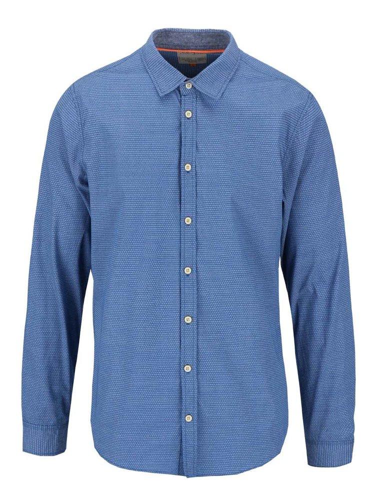 Tricou Blend de culoare albastra cu model slim fit