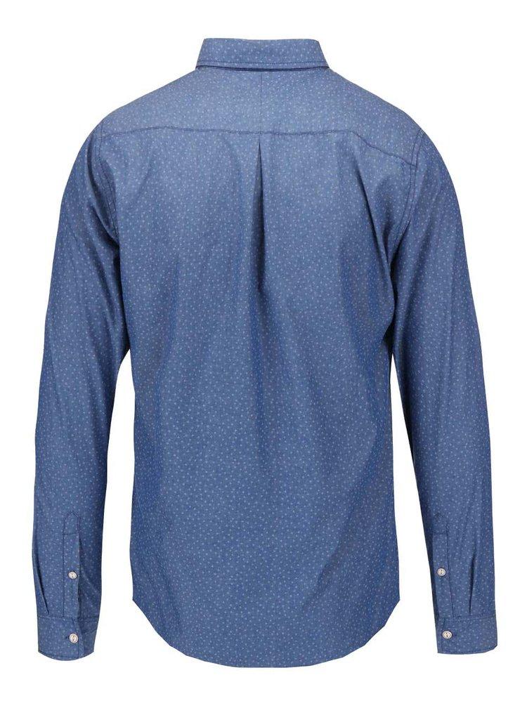 Modrá denimová vzorovaná slim košeľa Blend