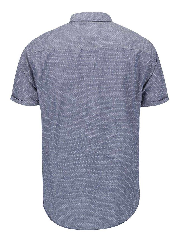Cămașă cu mânecă scurtă Blend slim fit, cu model, albastru deschis