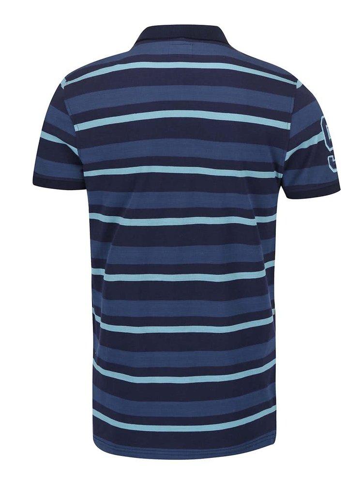 Tricou Polo Blend albastru, cu dungi