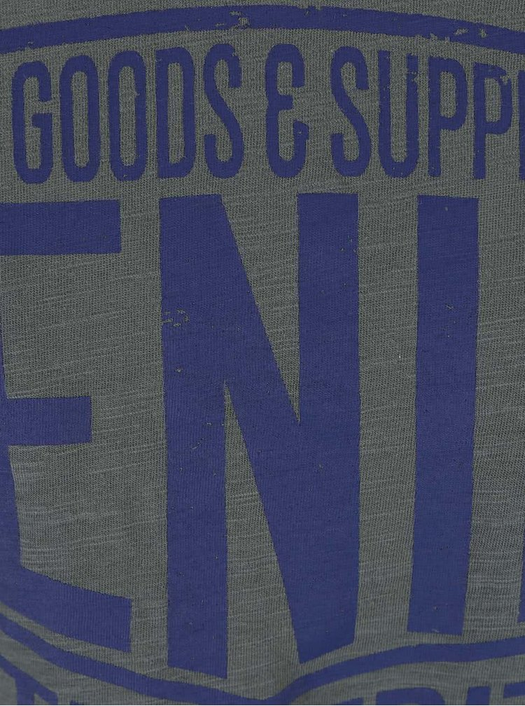 Tmavě zelené triko s potiskem textu Blend