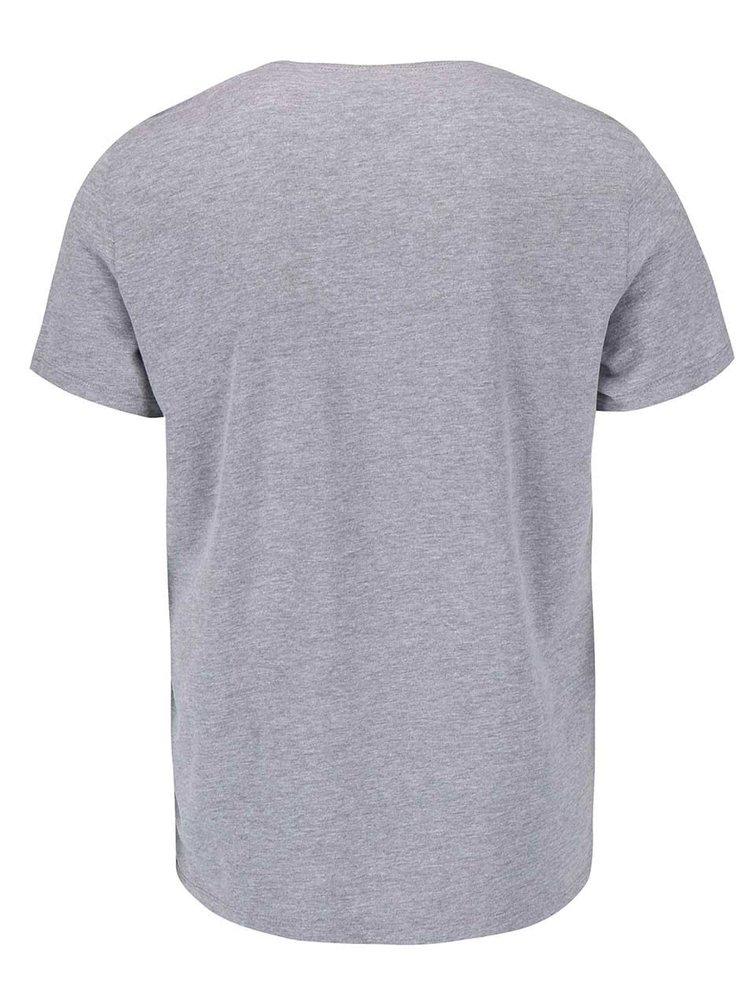 Sivé tričko s krátkym rukávom a s potlačou Blend