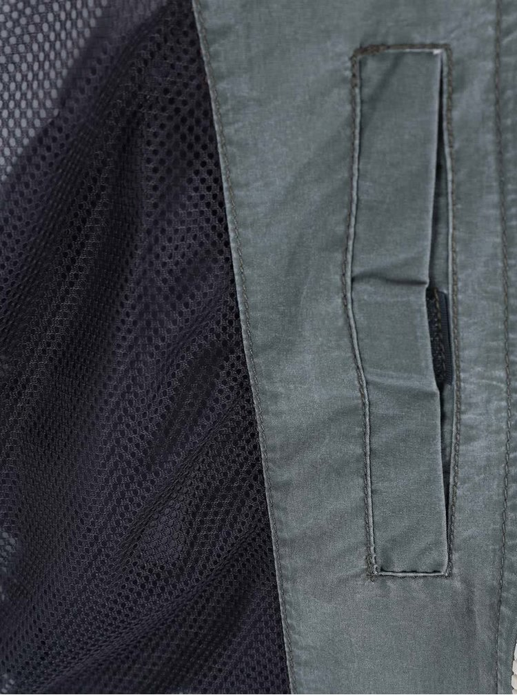 Sivo-zelená ľahká bunda s kapucňou Blend