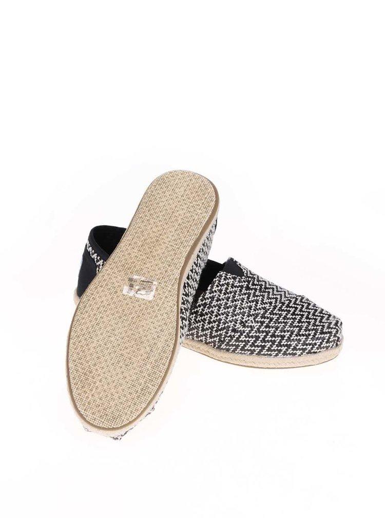 Bielo-čierne loafers so slamenou podrážkou Toms