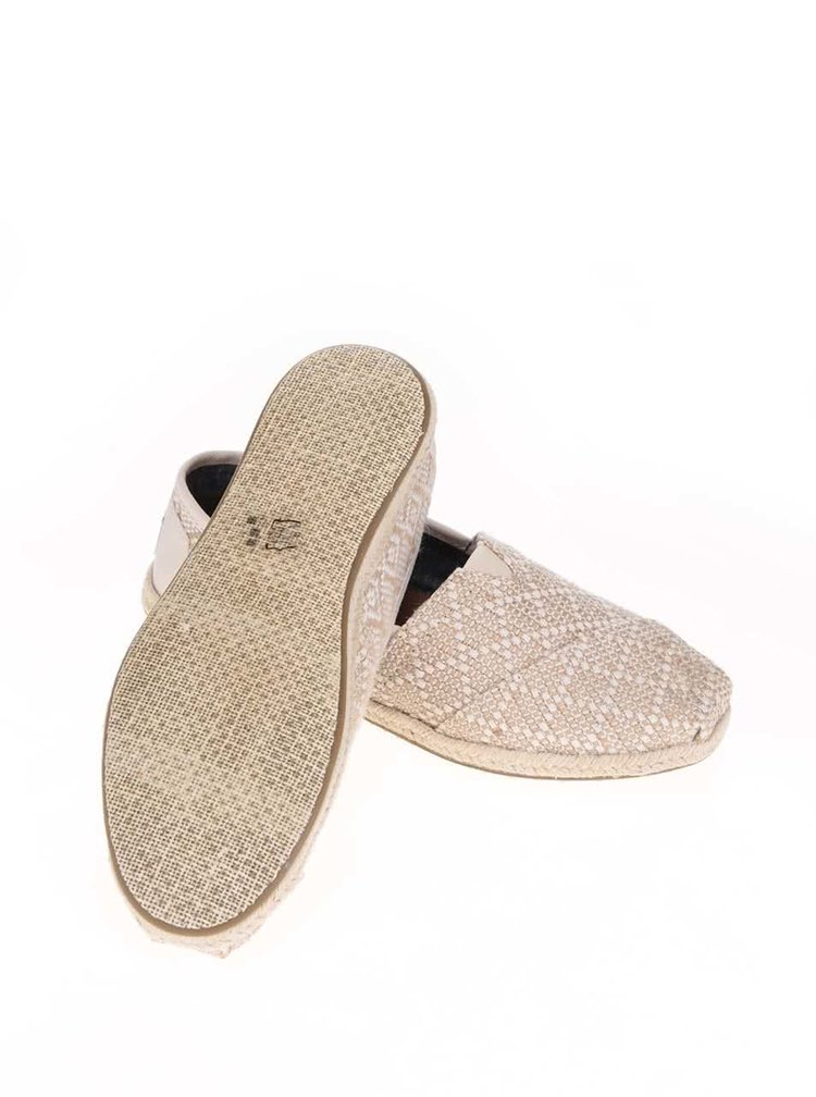 Béžové vzorované loafers so slamenou podrážkou TOMS