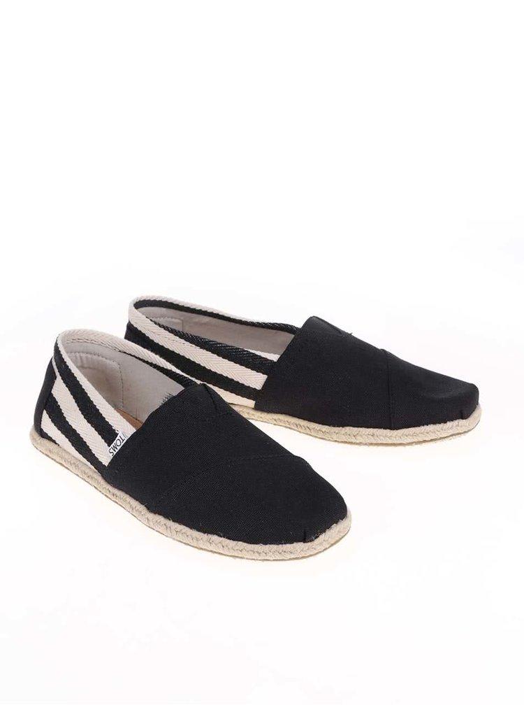 Čierne pánske loafers s pruhmi TOMS University