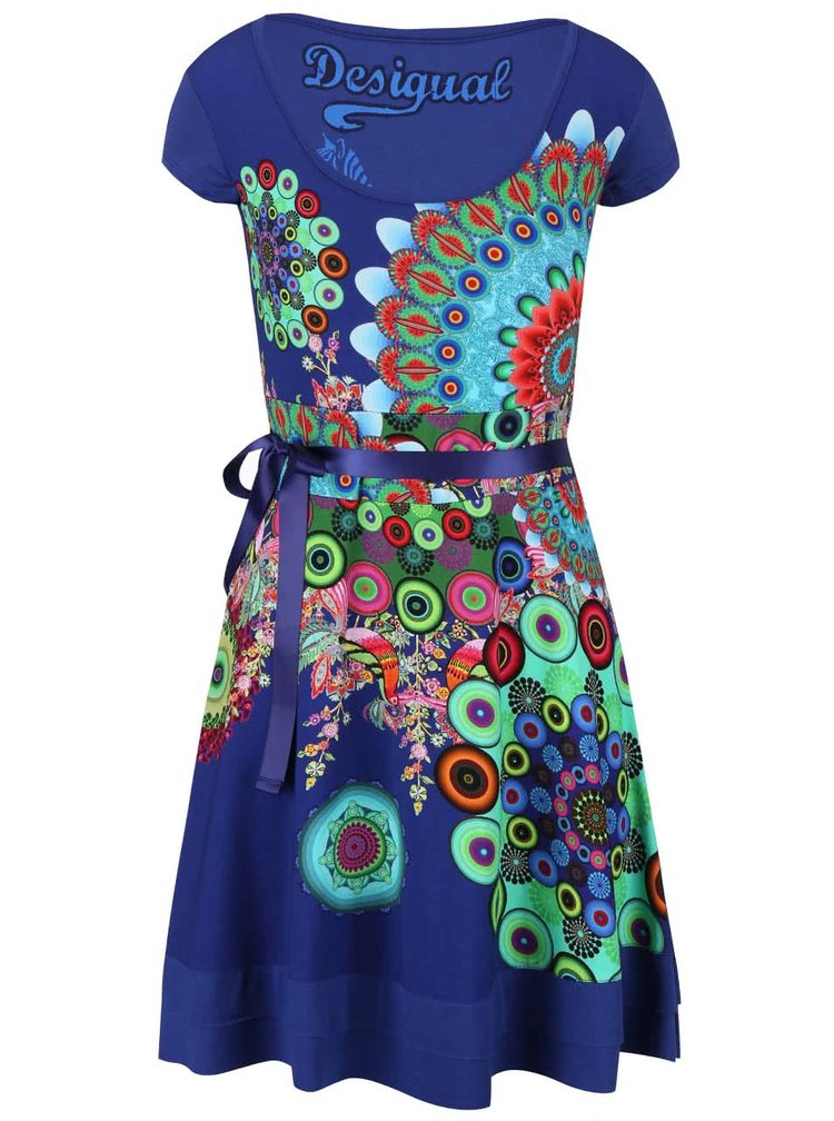 Modré šaty so stuhou v páse Desigual Regina Guer