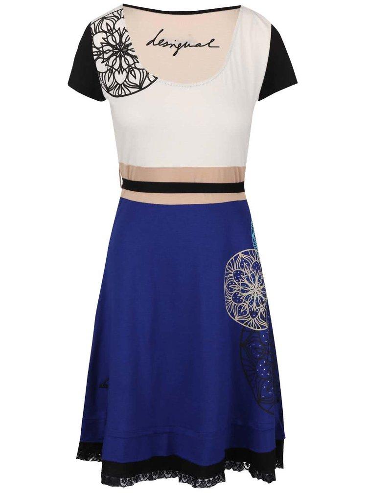Krémovo-modré šaty Desigual Altaír
