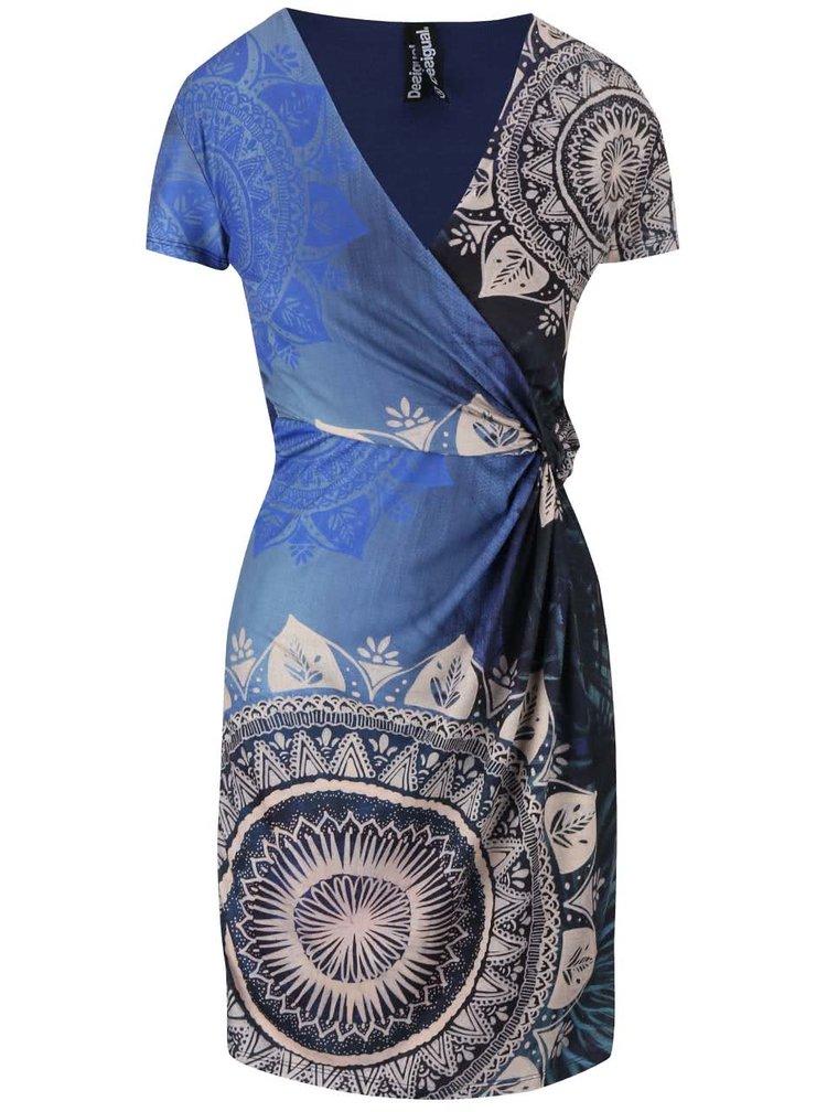 Modré šaty s prekladaným dekoltom Desigual Clemente
