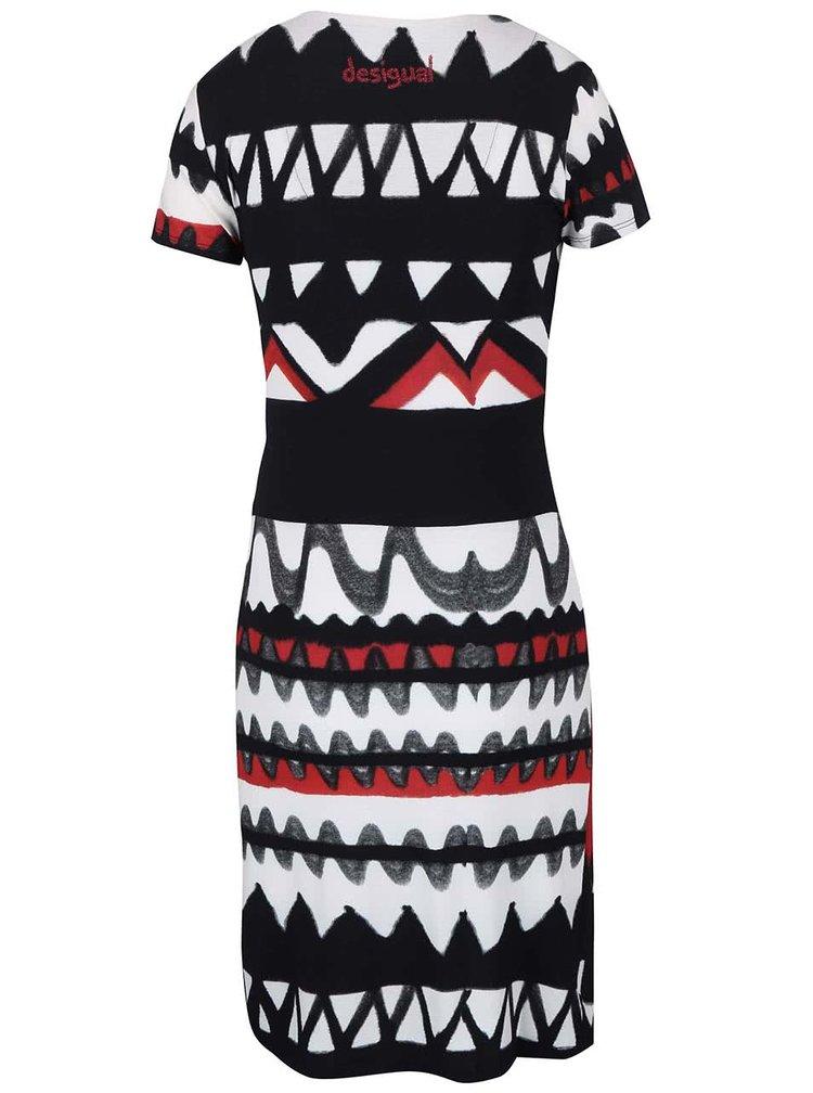 Bílo-černé vzorované šaty s překládaným výstřihem Desigual Katia