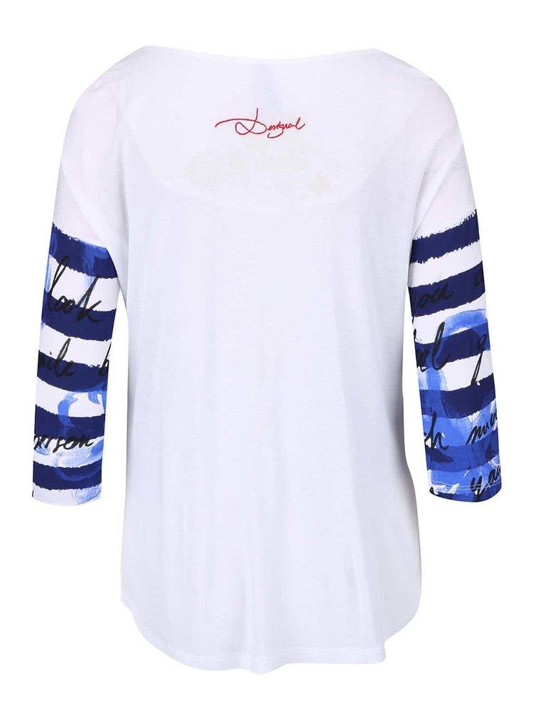 Bílé pruhované tričko s 3/4 rukávy Desigual Fonius