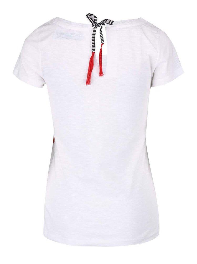 Biele tričko s kvetinovým motívom s kamienkami Desiagual Achlys