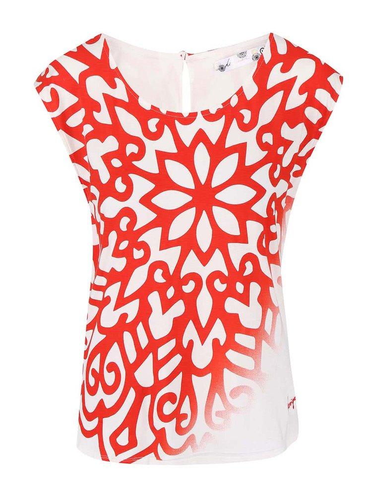 Červeno-bílé vzorované tričko Desigual Karla