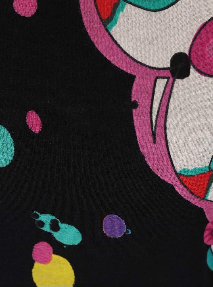 Tricou Desigual Keisi Flowy negru cu mâneci
