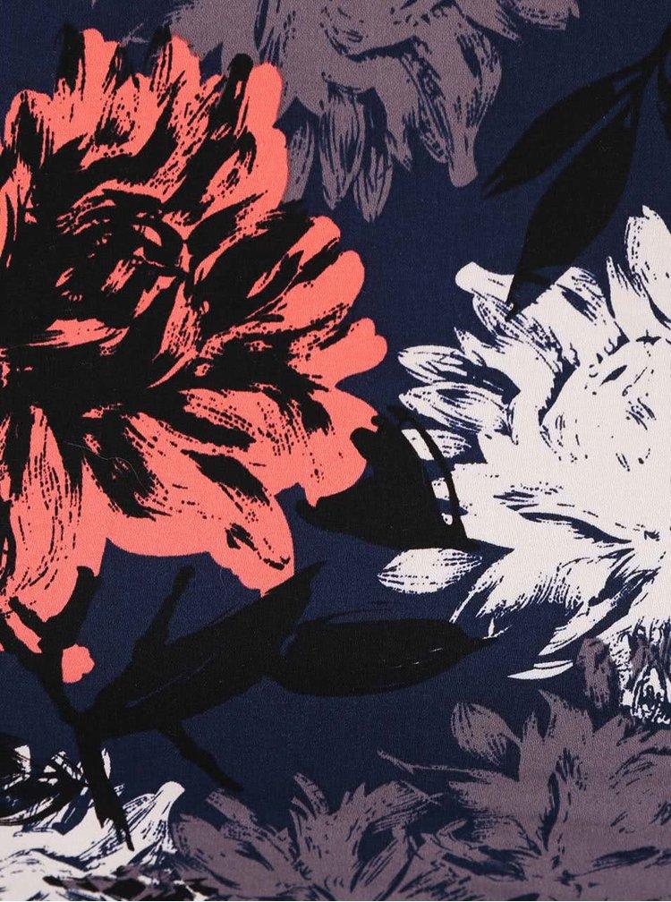 Tmavě modré pouzdrové šaty s barevnými květinami Apricot